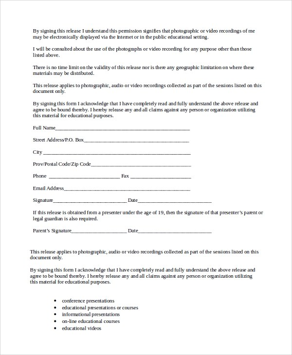 10+ Talent Release Form Templates Sample Templates - Talent Release Form Template