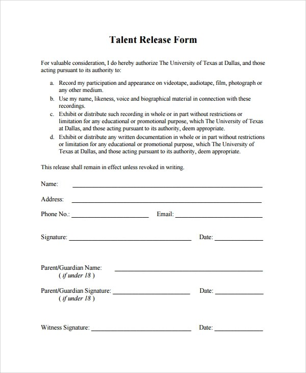 talent release form - Teacheng - Talent Release Form Template
