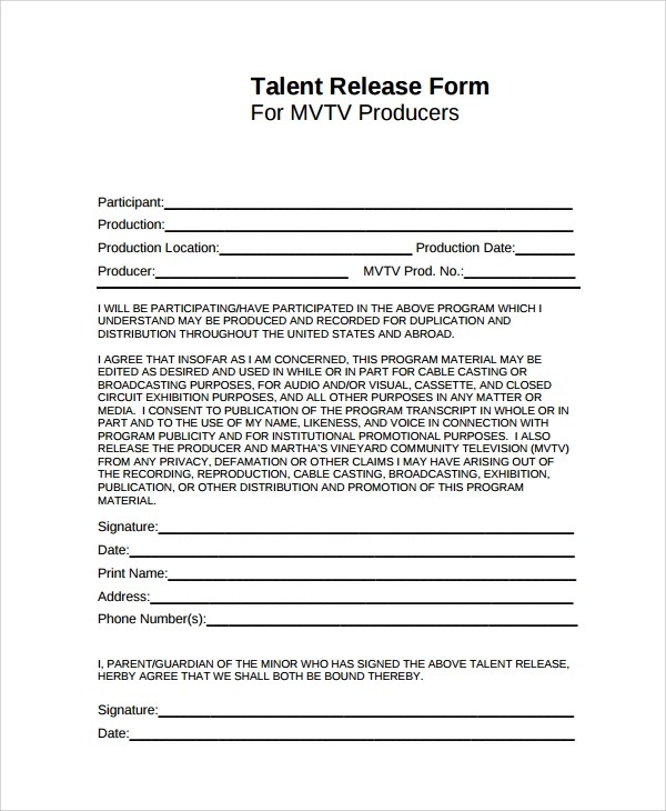 ... Talent Release Form Templates   Release Forms ...