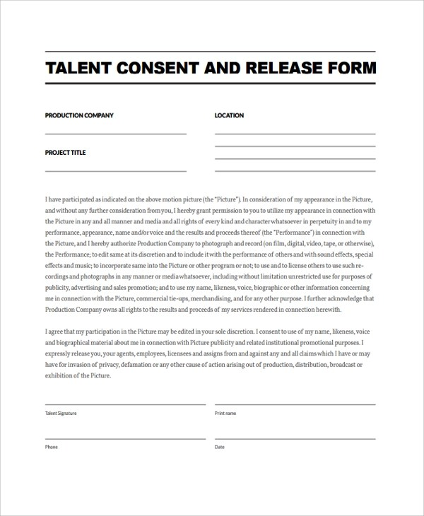 Sample Talent Release Form Template - 9+ Free Documents Download in - Talent Release Form Template