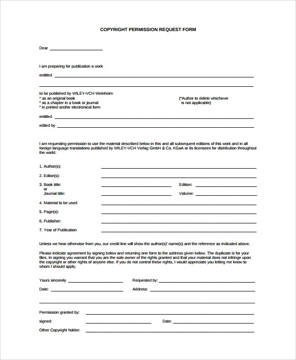 10+ Permission Form Templates Sample Templates - permission form template