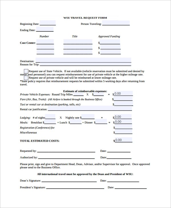 10+ Travel Request Forms Sample Templates - funding request form