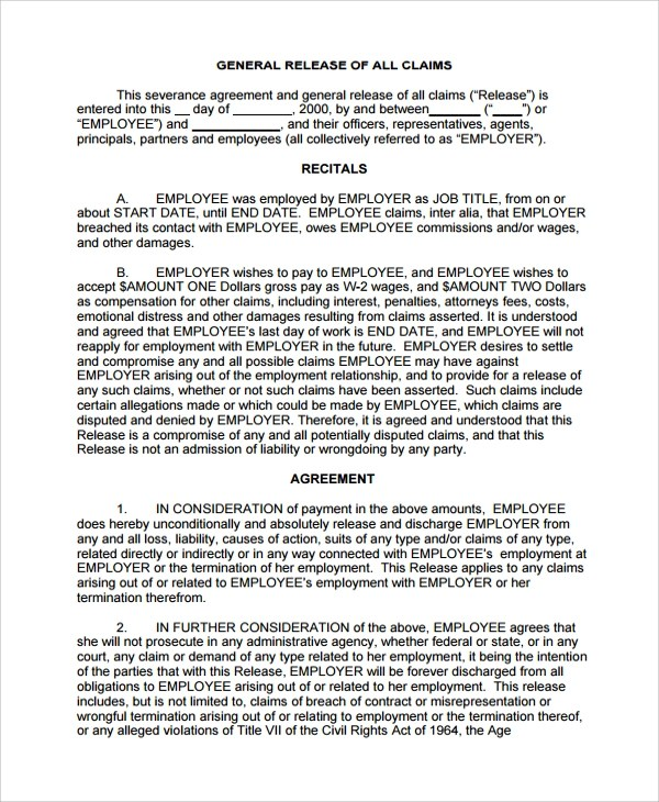 Severance General Release Agreement Template - employment termination agreement template