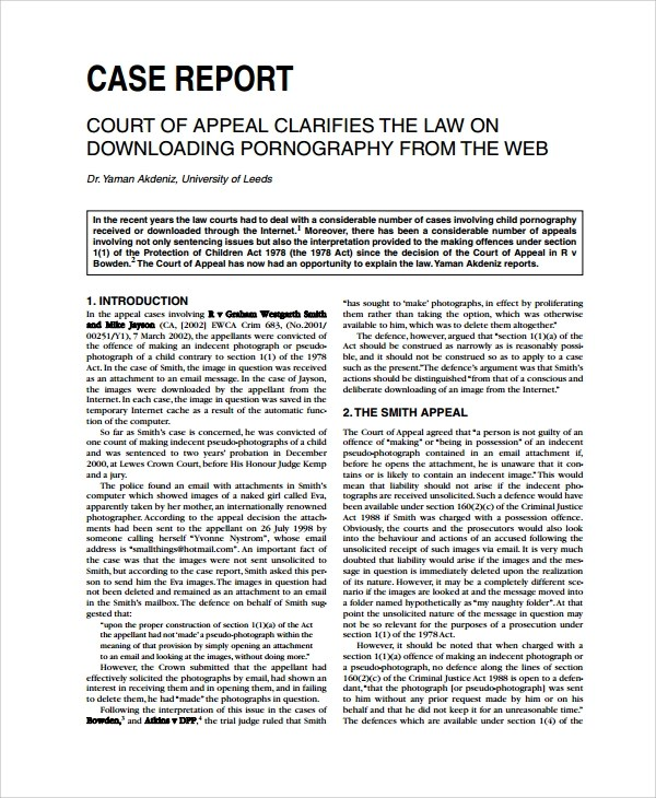 Sample Case Report Template - 10+ Free Documents Download in PDF