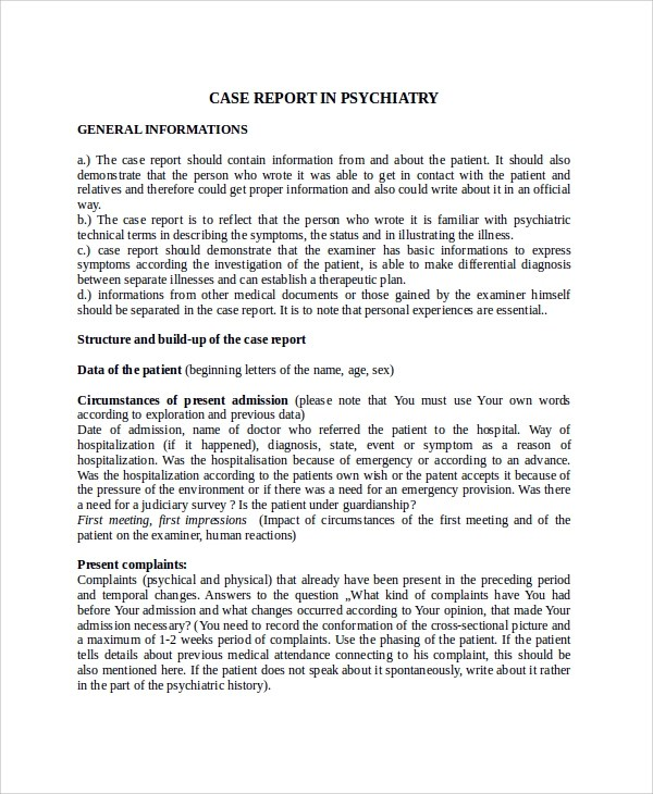 9+ Case Report Templates Sample Templates
