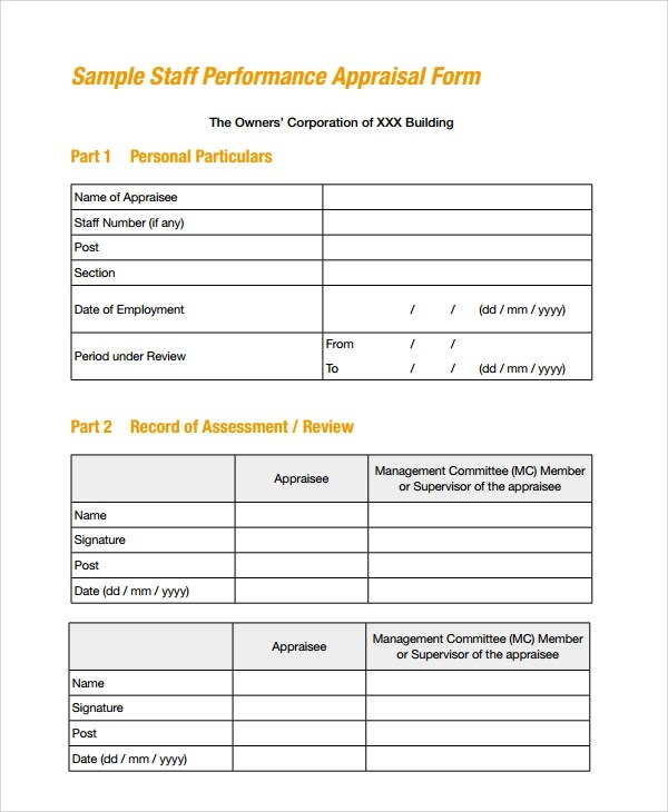 8+ Performance Review Form Templates Sample Templates