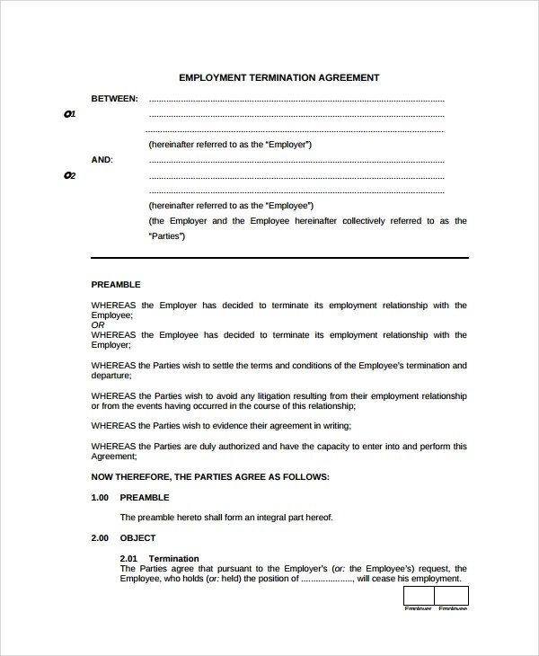 Termination Contract Template - employee termination guide