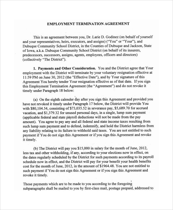 6+ Employment Termination Agreement Templates Sample Templates
