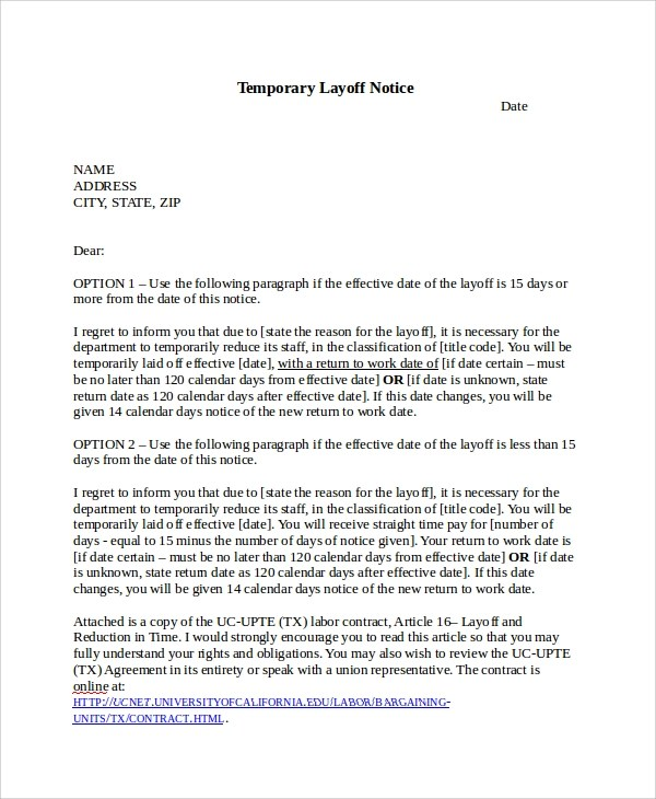 7+ Layoff Notice Templates Sample Templates - layoff notice template
