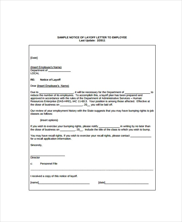 Sample Layoff Notice Template - 6+ Free Documents Download in PDF, Word