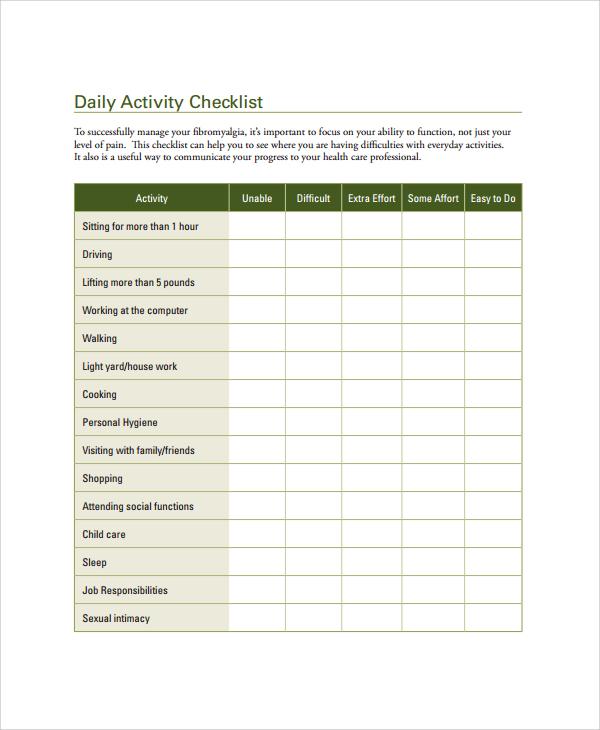 daily checklist template for work - Alannoscrapleftbehind