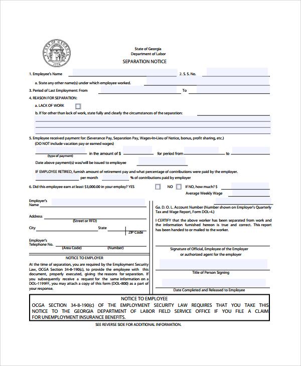 9+ Separation Notice Templates Sample Templates - employee notice