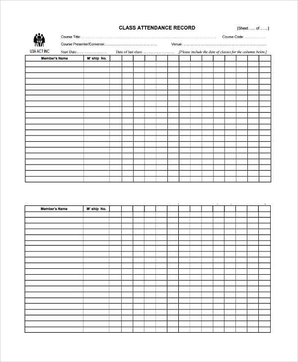 attendance list - Teacheng - classroom list template