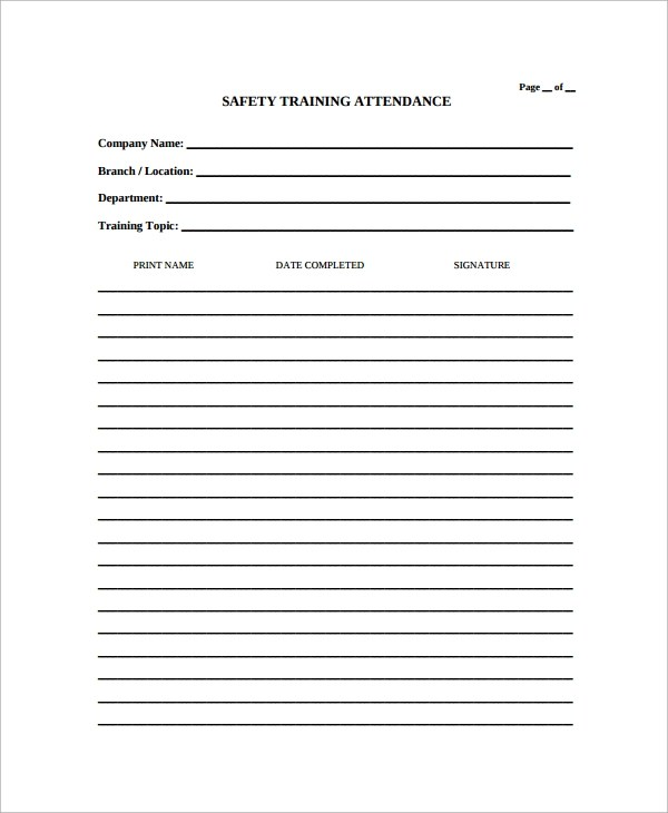 Sample Attendance List Template - 9+ Free Documents Download in PDF