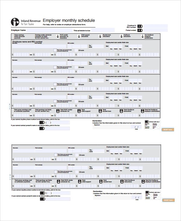 8+ Monthly Work Schedule Templates Sample Templates - employee monthly schedule template