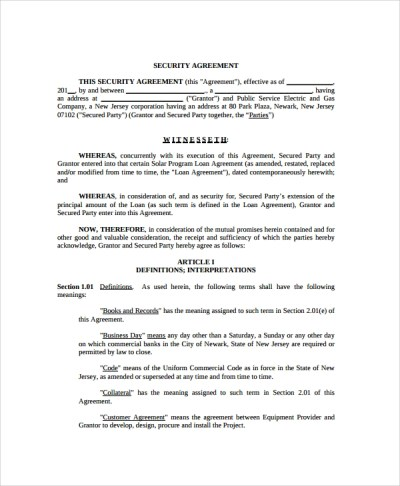 9+ Commercial Security Agreement Templates | Sample Templates