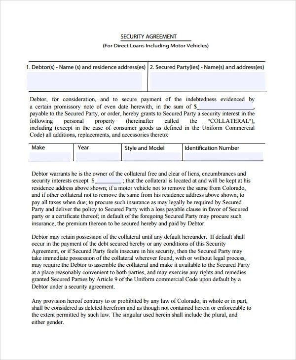 9+ Commercial Security Agreement Templates Sample Templates - security agreement template