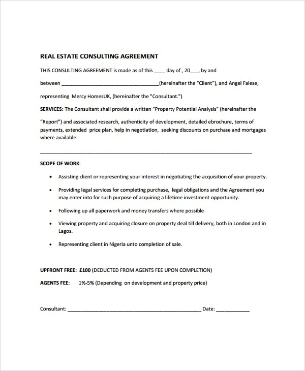 9+ Real Estate Consulting Agreement Templates Sample Templates - consulting agreement