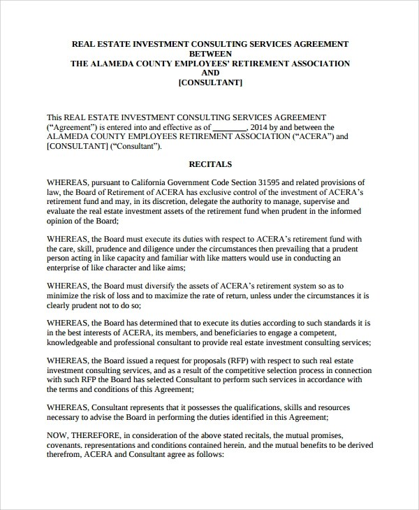 9+ Real Estate Consulting Agreement Templates Sample Templates