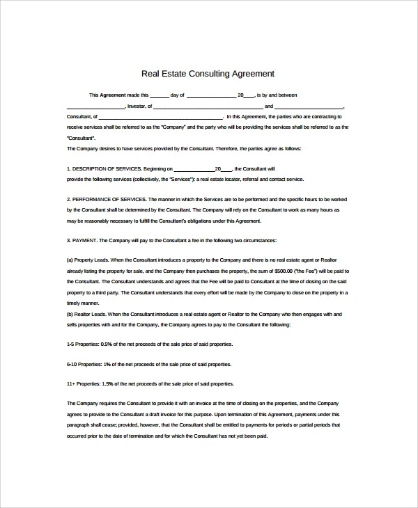 Sample Real Estate Consulting Agreement Templates - 8+ Free - consulting agreement examples