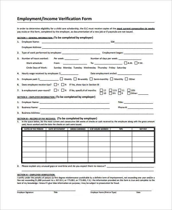 Sample Income Verification Form - 9+ Free Documents Download in - income verification form