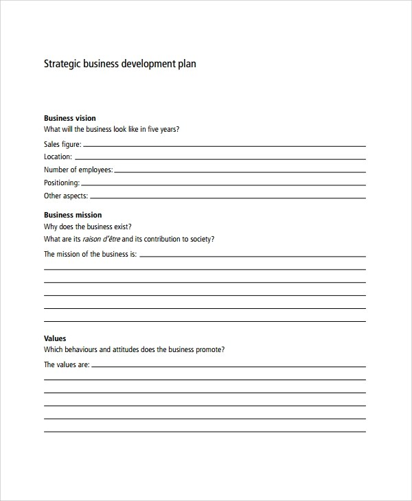 Sample Business Development Plan Template - 6+ Free Documents