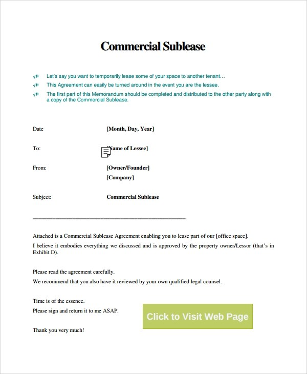 9+ Commercial Sublease Agreements Sample Templates - Sample Sublease Agreement