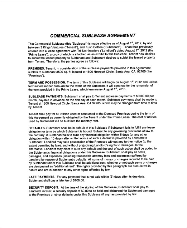 9+ Commercial Sublease Agreements Sample Templates - basic sublet agreement