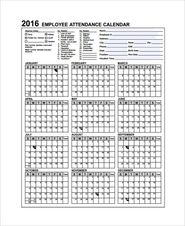 yearly attendance calendar - Selol-ink