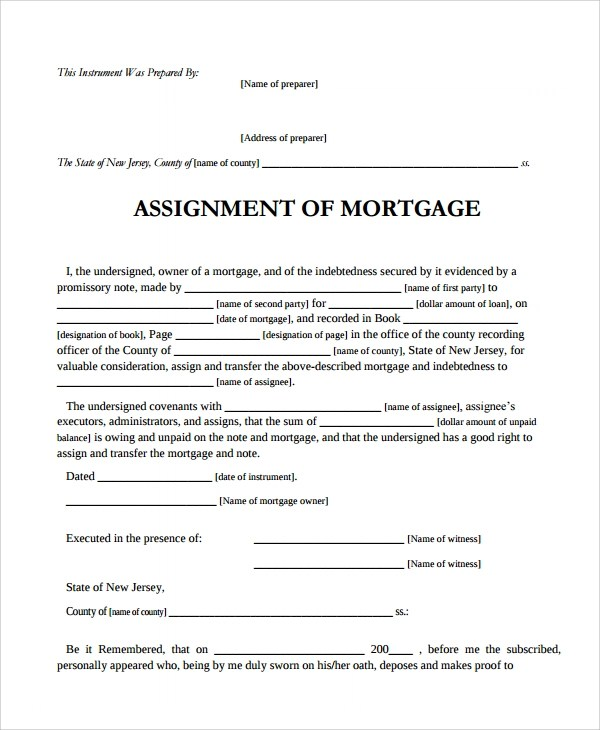 Sample Assignment of Mortgage Template - 9+ Free Documents Download