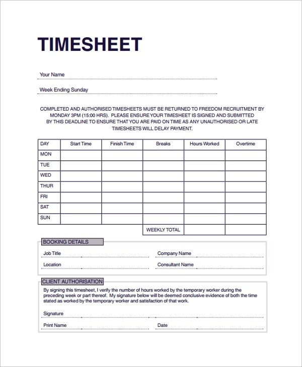 Consultant Timesheet Template Free  Application Letter For