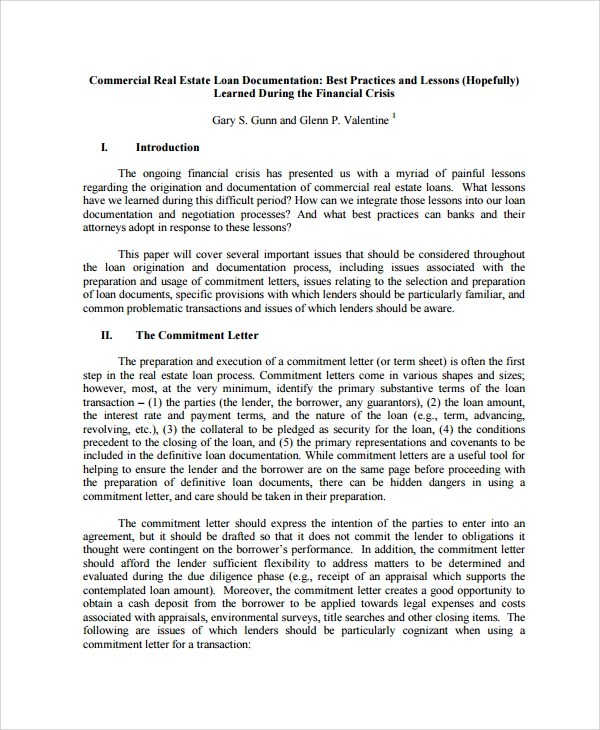 Sample Commercial Loan Agreement - 8+ Documents in PDF - loan document