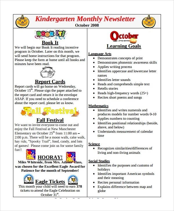 Sample Monthly Newsletter 8 Documents In Pdf Word