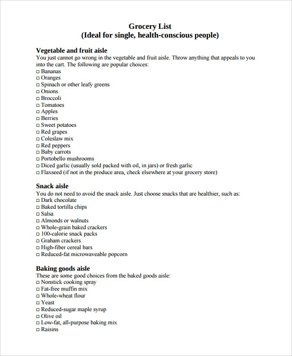 Sample Grocery List  NodeResumeTemplatePaasproviderCom