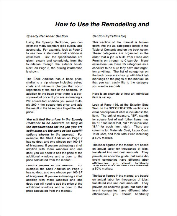 Sample Remodeling Estimate - 8+ Documents in Word, PDF