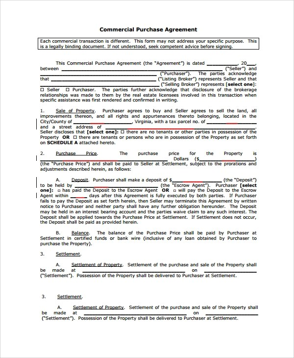 Sample Commercial Purchase Agreement - 7+ Documents in PDF - purchase and sales agreement