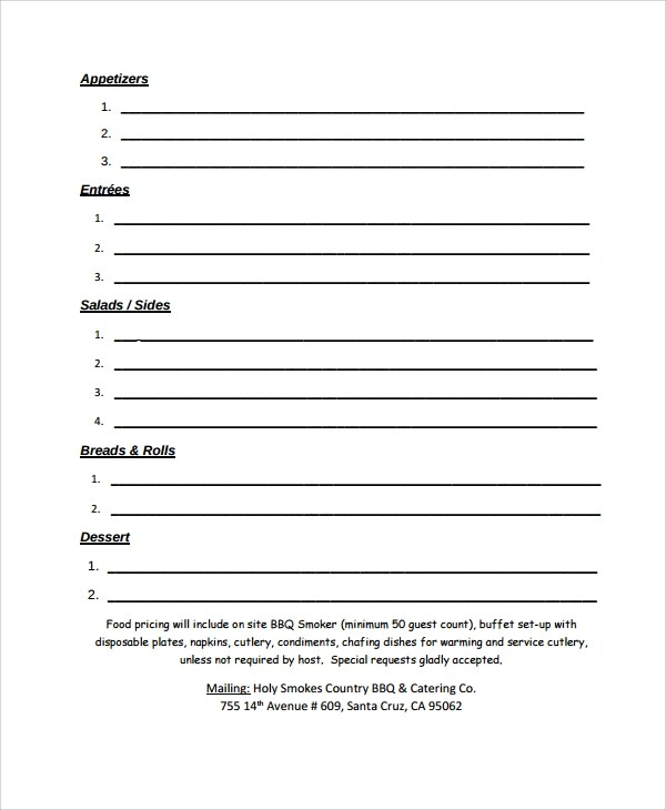 Catering Order Form 38 Awesome Catering Contract Sample Images - event order form