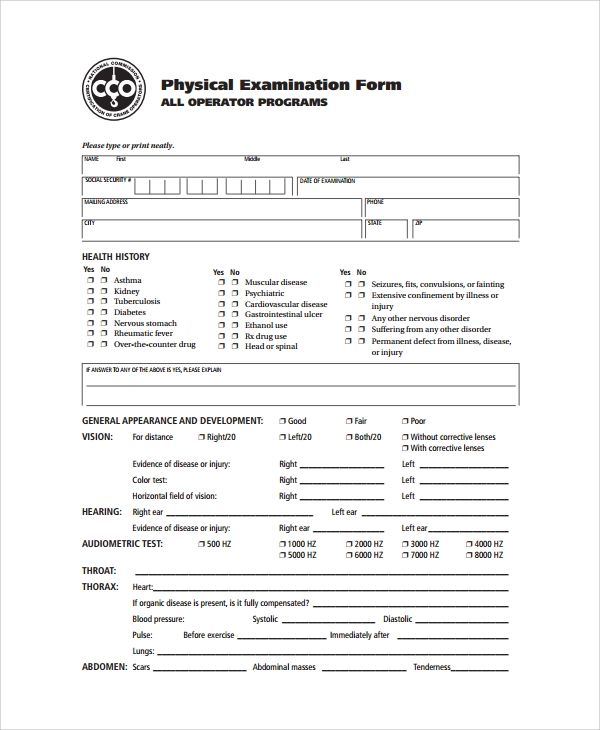 generic physical examination form