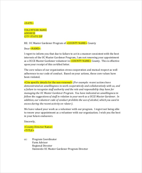 6+ Sample Employee Termination Letters Sample Templates