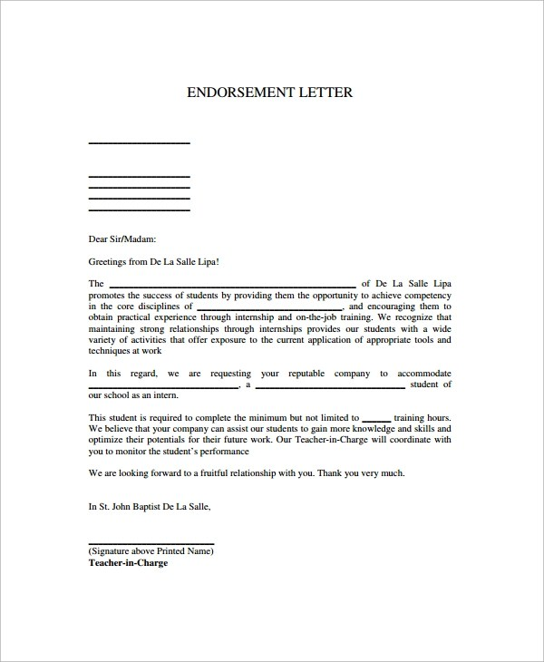 12+ Sample Endorsement Letters - PDF