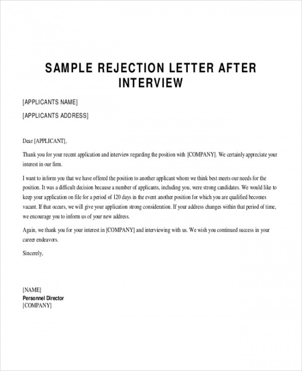 Sample Applicant Rejection Letter - 6+ Documents In PDF, Word