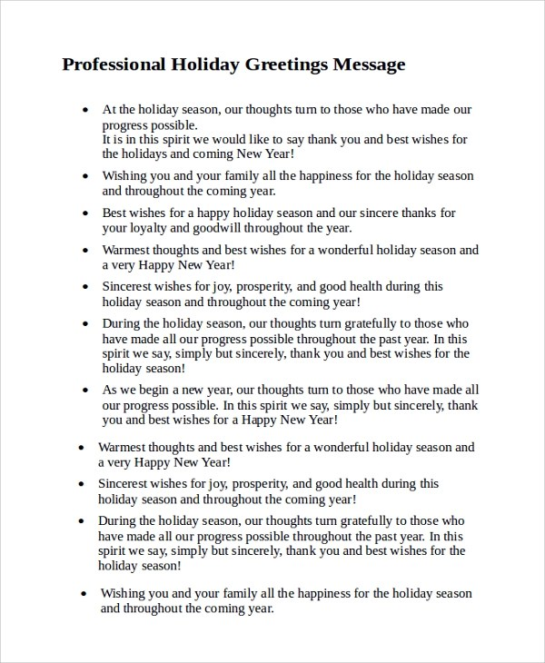 8+ Sample Holiday Greeting Messages Sample Templates - holiday greeting message