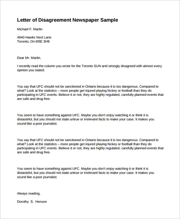 Sample Congratulation Letter For Winning A Contract Image Gallery Disagreement Letter