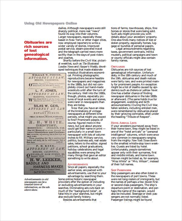 6+ Sample Vintage Newspaper Templates Sample Templates