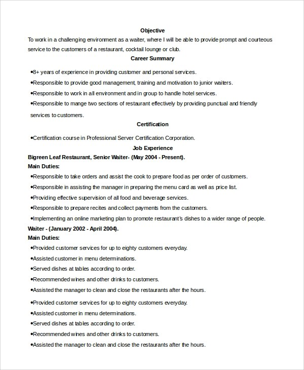 Cv Examples Uk For Waitress - waitress description for resumes