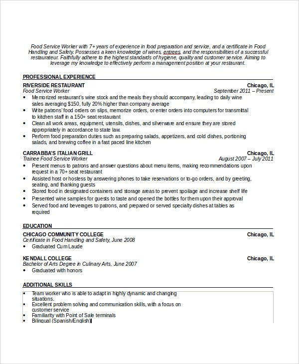 7+ Sample Waiter Resume Templates Sample Templates - waitress description for resumes