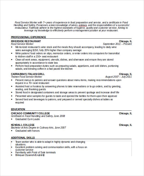 waitress resume skills examples