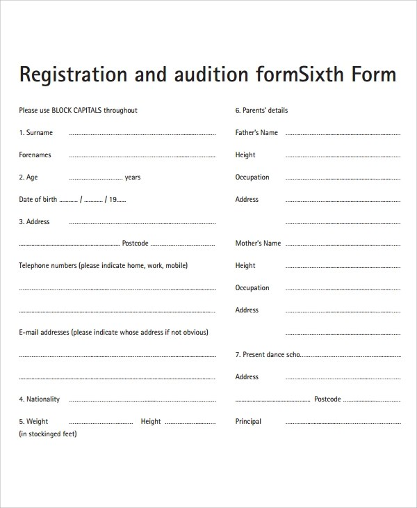 8+ Sample Audition Form Templates Sample Templates
