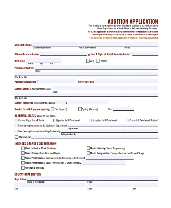 Audition Form Alternate Transportation Form - Click Here · Click - audition form