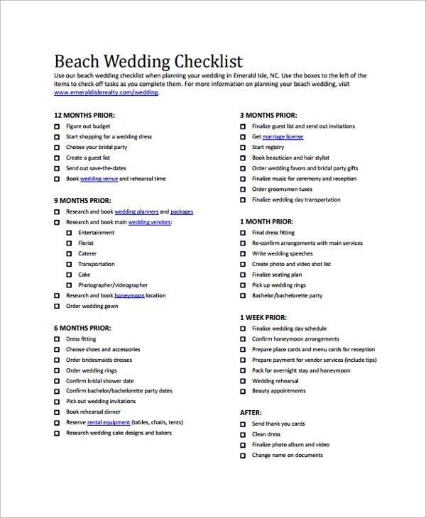 24+ Sample Wedding Checklist Templates Sample Templates - wedding checklist pdf